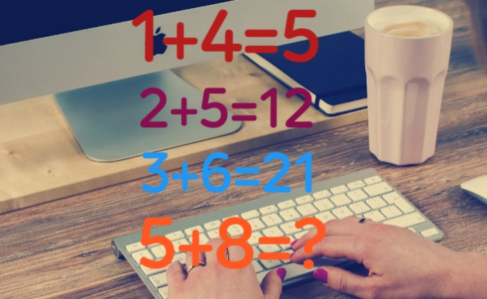 1+4=5 and 2+5=12 and 3+6=21 and 5+8=?